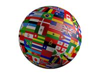 sphere covered with flags