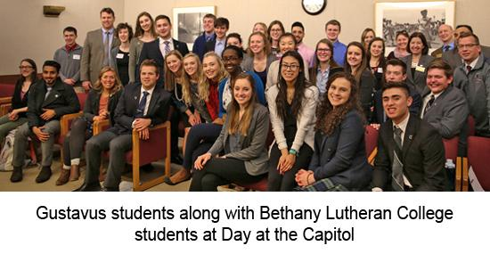 Gustavus students at Day at the Capitol in 2017