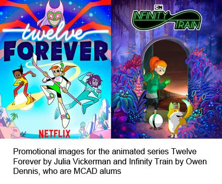 promo images for two animated shows created by MCAD alumni