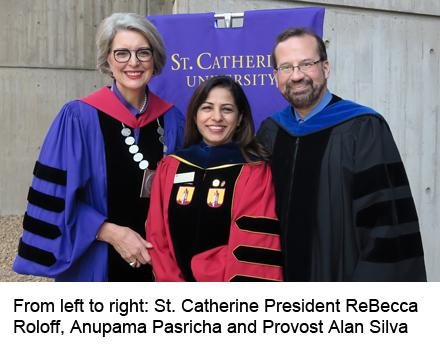 Anupama Pasricha with St. Kate's president and provost