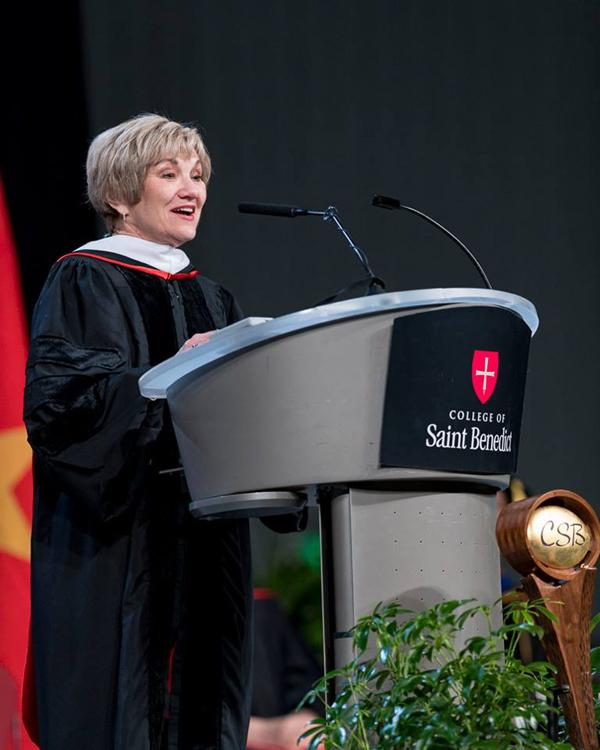 Beth Dinndorf '73, former president of Columbia College, delivered the commencement address during the ceremony at the College of Saint Benedict on May 12.