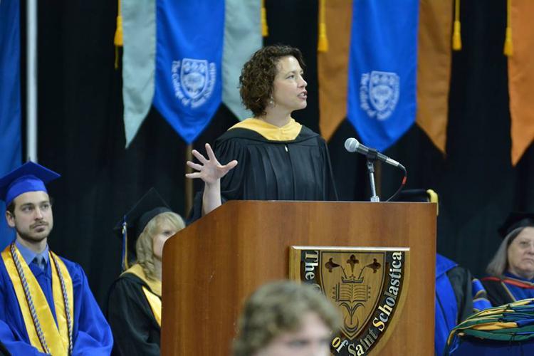 Emily Larson '95, mayor of Duluth, gave The College of St. Scholastica commencement address