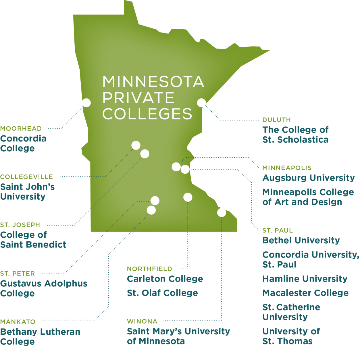 campus locations on map of Minnesota